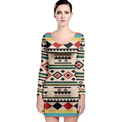 Tribal Pattern Long Sleeve Bodycon Dress