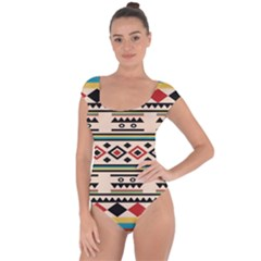 Tribal Pattern Short Sleeve Leotard