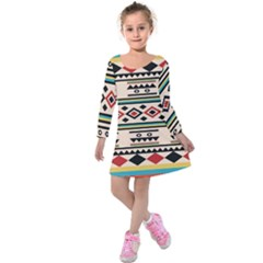 Tribal Pattern Kids  Long Sleeve Velvet Dress