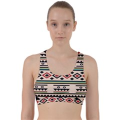 Tribal Pattern Back Weave Sports Bra