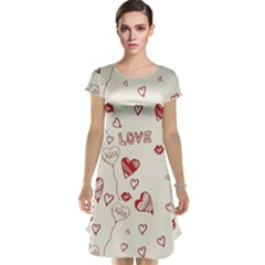 Pattern Hearts Kiss Love Lips Art Vector Cap Sleeve Nightdress by BangZart