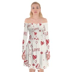Pattern Hearts Kiss Love Lips Art Vector Off Shoulder Skater Dress