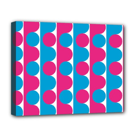 Pink And Bluedots Pattern Deluxe Canvas 20  X 16   by BangZart