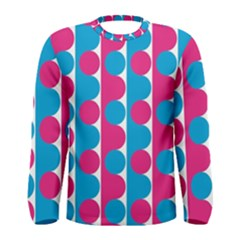 Pink And Bluedots Pattern Men s Long Sleeve Tee
