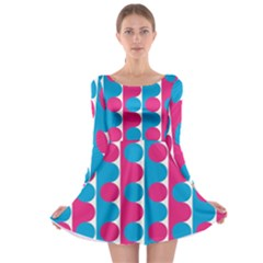 Pink And Bluedots Pattern Long Sleeve Skater Dress