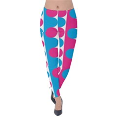 Pink And Bluedots Pattern Velvet Leggings