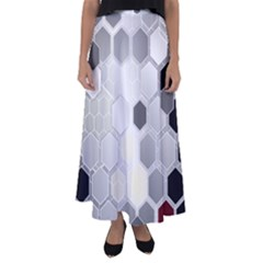 Honeycomb Pattern Flared Maxi Skirt