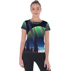 Planets In Space Stars Short Sleeve Sports Top