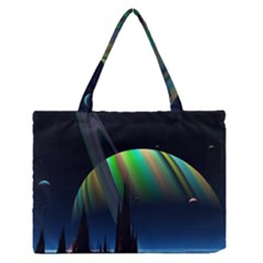 Planets In Space Stars Medium Zipper Tote Bag