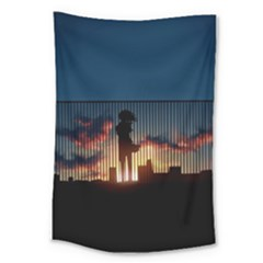 Art Sunset Anime Afternoon Large Tapestry by BangZart