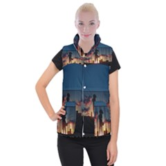 Art Sunset Anime Afternoon Women s Button Up Puffer Vest