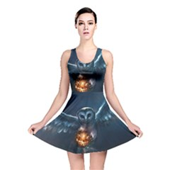 Owl And Fire Ball Reversible Skater Dress