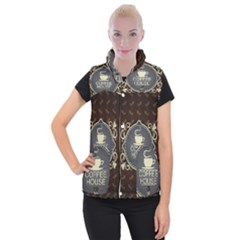 Coffee House Women s Button Up Puffer Vest