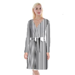 Barcode Pattern Long Sleeve Velvet Front Wrap Dress