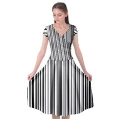 Barcode Pattern Cap Sleeve Wrap Front Dress