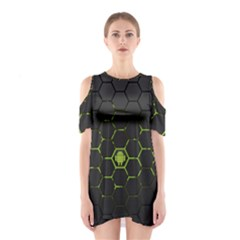 Green Android Honeycomb Gree Shoulder Cutout One Piece