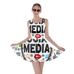 Social Media Computer Internet Typography Text Poster Skater Dress by BangZart
