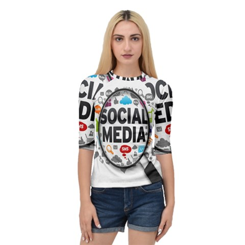 Social Media Computer Internet Typography Text Poster Quarter Sleeve Tee by BangZart