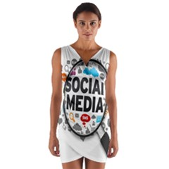 Social Media Computer Internet Typography Text Poster Wrap Front Bodycon Dress by BangZart