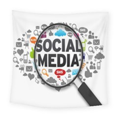 Social Media Computer Internet Typography Text Poster Square Tapestry (large)