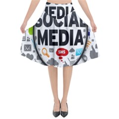 Social Media Computer Internet Typography Text Poster Flared Midi Skirt