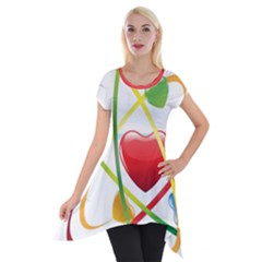 Love Short Sleeve Side Drop Tunic by BangZart