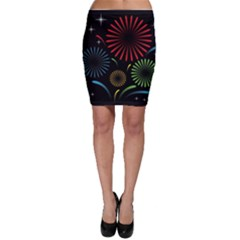 Fireworks With Star Vector Bodycon Skirt