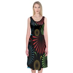 Fireworks With Star Vector Midi Sleeveless Dress