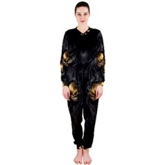 Art Fiction Black Skeletons Skull Smoke Onepiece Jumpsuit (ladies)