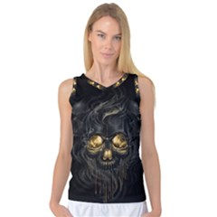 Art Fiction Black Skeletons Skull Smoke Women s Basketball Tank Top