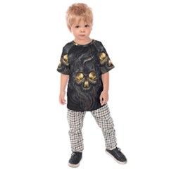 Art Fiction Black Skeletons Skull Smoke Kids Raglan Tee