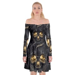 Art Fiction Black Skeletons Skull Smoke Off Shoulder Skater Dress