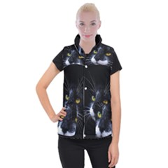 Face Black Cat Women s Button Up Puffer Vest