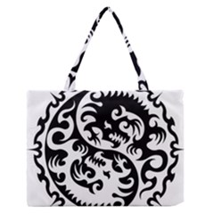 Ying Yang Tattoo Medium Zipper Tote Bag by BangZart