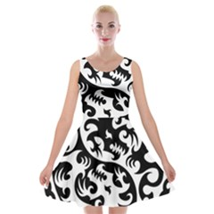 Ying Yang Tattoo Velvet Skater Dress