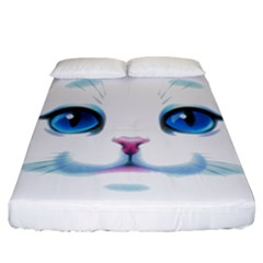 Cute White Cat Blue Eyes Face Fitted Sheet (california King Size) by BangZart