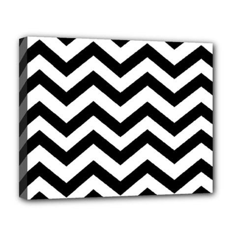 Black And White Chevron Deluxe Canvas 20  X 16