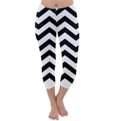 Black And White Chevron Capri Winter Leggings