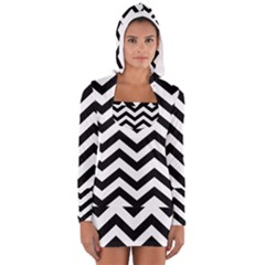Black And White Chevron Long Sleeve Hooded T-shirt