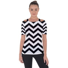 Black And White Chevron Short Sleeve Top