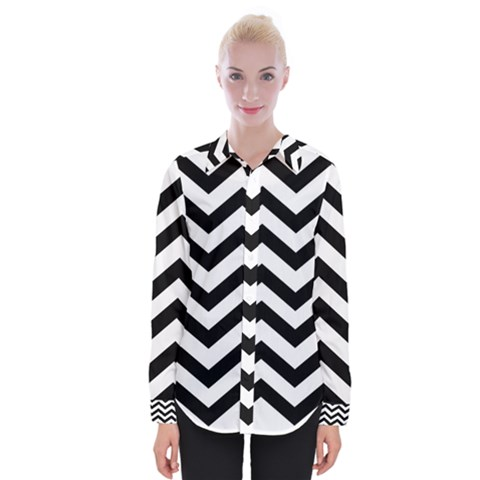 Black And White Chevron Womens Long Sleeve Shirt by BangZart