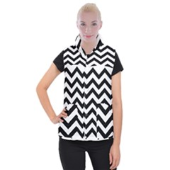 Black And White Chevron Women s Button Up Puffer Vest