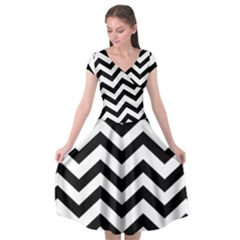 Black And White Chevron Cap Sleeve Wrap Front Dress