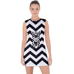 Black And White Chevron Lace Up Front Bodycon Dress