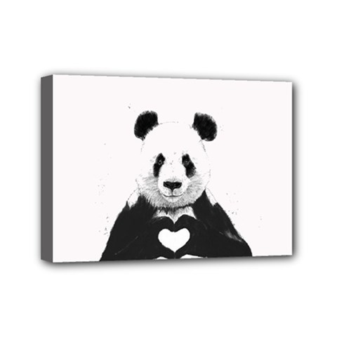 Panda Love Heart Mini Canvas 7  X 5
