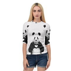 Panda Love Heart Quarter Sleeve Tee