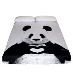 Panda Love Heart Fitted Sheet (king Size) by BangZart