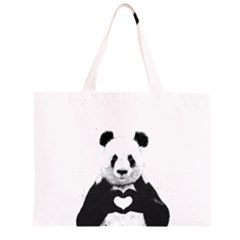 Panda Love Heart Zipper Large Tote Bag