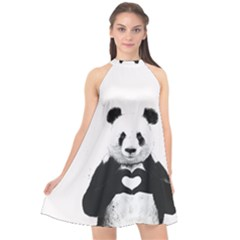Panda Love Heart Halter Neckline Chiffon Dress