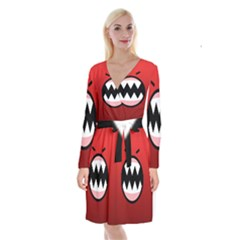 Funny Angry Long Sleeve Velvet Front Wrap Dress